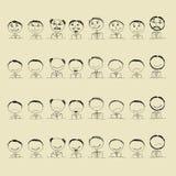 Inzameling van glimlachpictogrammen, gezichten van mensen Stock Afbeelding