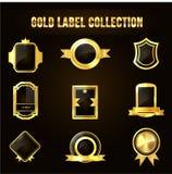 Inzameling van Gouden Kenteken of Schild Stock Foto