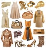 Inzameling van gouden kleding Stock Afbeeldingen