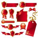 Inzameling van gouden-roodtekens en etiketten Stock Foto