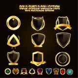 Inzameling van Gouden Schild met Linten Stock Foto