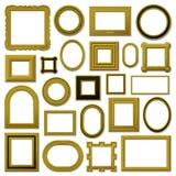 Inzameling van gouden uitstekende omlijstingen Royalty-vrije Stock Fotografie