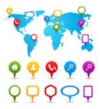 Inzameling van GPS en navigatiepictogrammen op wereld Royalty-vrije Stock Afbeeldingen