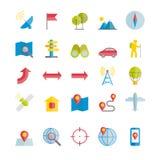 Inzameling van gps navigatie en reis vlakke pictogrammen Stock Foto