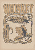 Inzameling van grafisch etiket grafisch symbool van whisky Royalty-vrije Stock Foto's