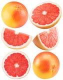 Inzameling van grapefruit op de witte achtergrond wordt geïsoleerd die royalty-vrije stock foto