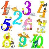 Inzameling van grappige aantallen Katten en kippen Vrolijke groeten verjaardag Beeldverhaal leuke karakters Stock Foto's