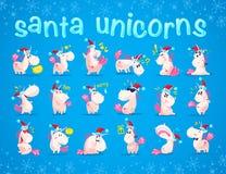 Inzameling van grappige santaeenhoorn emoticon in santahoed op blauwe de winterachtergrond Stock Afbeelding