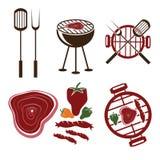 inzameling van grill de vectoretiketten Royalty-vrije Stock Afbeelding