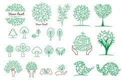 Inzameling van groene boom, emblemen en pictogrammen Stock Foto