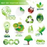 Inzameling van groene eco-pictogrammen Royalty-vrije Stock Afbeeldingen