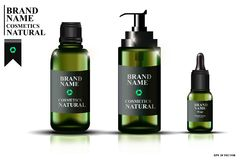 Inzameling van groene glasflessen met pipetten, flessen met olie voor gezicht Kosmetisch malplaatje, realistische kosmetische fle Stock Afbeelding