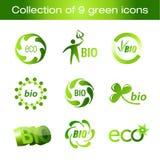 Inzameling van groene pictogrammen vector illustratie