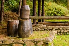 Inzameling van grote aarden potten stock foto's