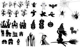 Inzameling van Halloween, pictogrammen, zwarte, Vector royalty-vrije illustratie