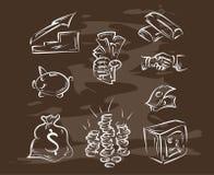 Inzameling van hand-drawn financiën op bord Retro uitstekende illustratie style Stock Afbeeldingen