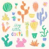 Inzameling van hand getrokken cactus Heldere exotische succulents Royalty-vrije Stock Afbeelding