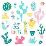 Inzameling van hand getrokken cactus Heldere exotische succulents Royalty-vrije Stock Fotografie