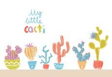 Inzameling van hand getrokken cactus in potten Heldere exotische succulent Royalty-vrije Stock Foto's