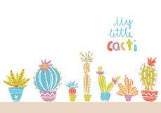 Inzameling van hand getrokken cactus in potten Heldere exotische succulent Royalty-vrije Stock Afbeelding