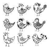 Inzameling van hand getrokken vogels Royalty-vrije Stock Afbeeldingen