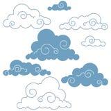 Inzameling van handdrawn wolken Stock Foto