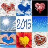 2015, inzameling van harten Stock Afbeelding