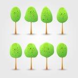 Inzameling van heldergroene bomen met dalingsschaduw. Vector illust Stock Afbeelding