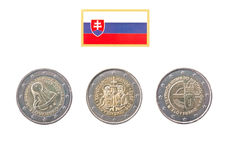 Inzameling van herdenkingsmuntstukken van Slowakije Stock Foto