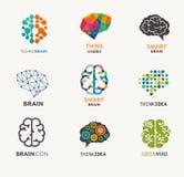 Inzameling van hersenen, verwezenlijking, ideepictogrammen en Royalty-vrije Stock Foto