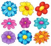 Inzameling 6 van het bloemthema Stock Afbeeldingen
