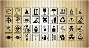 Inzameling van het de Beschermings Breekbare Teken van het pakketpictogram de Vastgestelde Stock Afbeelding