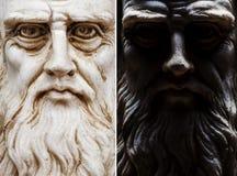 Inzameling van het de menings volledige gezicht van Leonardo da Vinci de frontale stock fotografie