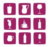 Inzameling van het drinken van pictogrammen en symbolen Stock Foto