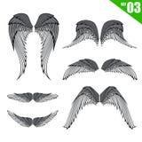 Inzameling 003 van het elementen vectorillustratie eps10 van het vleugelsontwerp royalty-vrije illustratie