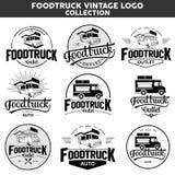 Inzameling van het Foodtruck de uitstekende embleem stock fotografie