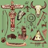 Inzameling van het hand getrokken wilde westen Amerikaanse Indiër royalty-vrije illustratie