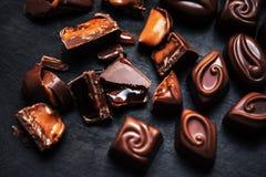 Inzameling van het het Behang zoete voedsel van het chocoladesuikergoed de Zoete Donkere Cho Royalty-vrije Stock Fotografie