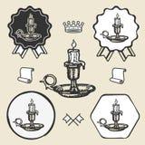 Inzameling van het het embleemetiket van het kaars de uitstekende symbool Royalty-vrije Stock Afbeeldingen