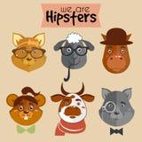 Inzameling van het karakterdieren van het hipsterbeeldverhaal Stock Foto
