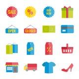 Inzameling van het kleurrijke vector vlakke winkelen voor Web, druk, mobiele apps Stock Fotografie