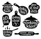 Inzameling van het koken van etiket of embleem Hand het geschreven van letters voorzien, kalligrafie die vectorillustratie koken stock illustratie
