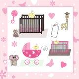 Inzameling van het Meisje van de Baby & Dierlijke Vectoren Stock Afbeeldingen