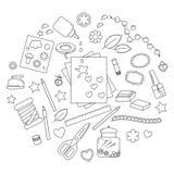 Inzameling van het scrapbooking van hulpmiddelen Stock Afbeelding