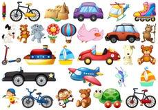 Inzameling van het speelgoed van kinderen op wit royalty-vrije illustratie