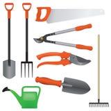 Inzameling van het tuinieren hulpmiddelen,  Royalty-vrije Stock Afbeelding