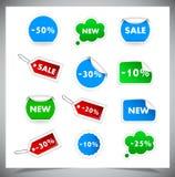 Inzameling van het Verkopen van Kentekens en stickers vector illustratie