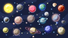 Inzameling van het zonnestelsel de vectorbeeldverhaal Planeten, manen van Aarde, Jupiter en andere planeet van Zonnestelsel, met stock illustratie