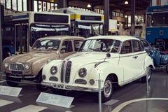 Inzameling van historisch gekend en voertuigen aan het van het het Vervoermuseum van München Museum Verkehrszentrum van Deutsches stock afbeelding