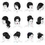 Inzameling van hoofden van leuke dames De meisjes tonen vrouwelijke kapsels voor kort, lang en middelgroot haar De vrouwen zijn m royalty-vrije illustratie
